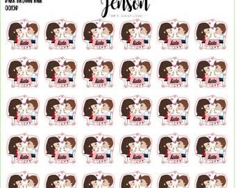 Date Day/Night Planner Stickers -- Dark Brown Hair (30 count)