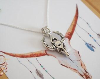 Bull skull necklace | silver necklace, buffalo longhorn necklace, bohemian necklace, minimalist jewelry, jewelry card, necklace card, gypsy