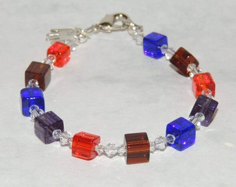 Multi color square beads with swarovski crystals bracelet