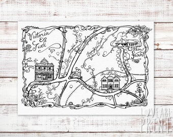Hand Drawn Map | Wedding Map | Line Drawing Map | Wedding Invitation Map | Map Illustration | Wedding Invitation Directions |