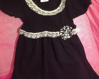 Adorable Lacey Embellished Diva Little Black Dress