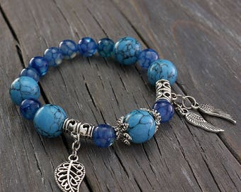Blue Beaded Bracelet, Agate Bracelet, Turquoise Stretch Bracelet, Leaf Charm Bracelet, Dragon Vien Agate, Blue Beads Jewelry, Sister gift