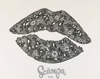 Original hand drawn, ink print illustration of a beautifully detailed lipstick print. Framed