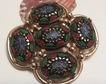 Sarah Coventry enameled mosaic look Pin