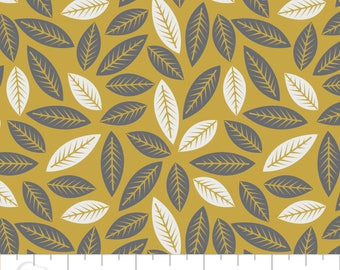 Quilting Fabric By the Yard - Botanical: Leaves - Mustard/Gold from Camelot Fabrics