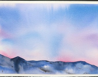Watercolor Illustration ,Original Artwork,  Sky, Painting