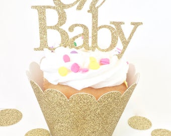 Gold glitter cupcake toppers,baby shower decor, oh baby cupcake toppers ,gold cupcake toppers, party decor, gold baby shower decor, cupcake