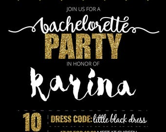 Personalised Black & Gold Bachelorette Party Invitation