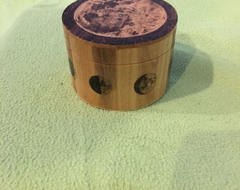 Handmade woodburned moon circle box