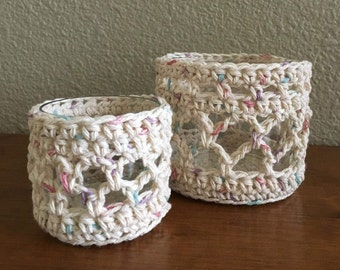 Crochet Candle Glass Holder/Sleeve Set. Includes Glass.