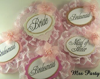 Bride and Bridal Party Badges Pink Bride To Be Badge Bridal Party Badges Bridal Shower Badge Pink Bride Bridesmaid Badges Bachelorette Badge