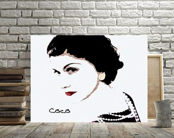 Coco Chanel, Coco Chanel Wall Art, Print or Canvas, Chanel Room Decor, Chanel Fan Gift, Feminine Art, Coco Chanel Picture, Black White, Red