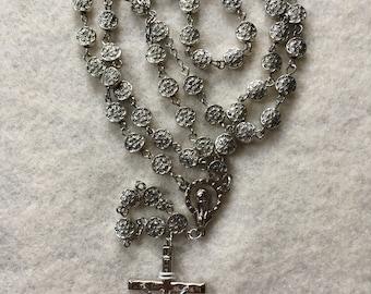 Antique Silver Lentil Rosary