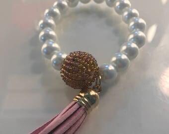 Beaded Stretch Bracelet with Tassel