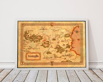 Narnia Map, Chronicles Of Narnia, Vintage style wall map of Narnia, Narnia Map The Lion the witch and the Wardrobe, Fantasy Maps, Narnia Art
