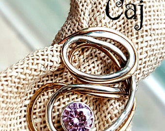 SALE Metalsmith Artisan Sterling & Gold-filled Ring with Pink CZ