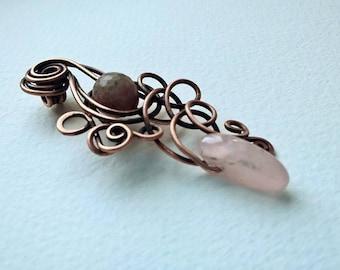 Handmade Copper Wire Pedant with Gemstones
