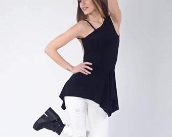 Tunic, Asymmetrical Tunic, Wrap Tunic, Oversized Tunic, Black Tunic Top, Loose Tunic, Sleeveless Tunic, Black Top
