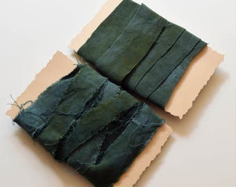 Rayon Ribbon, Hand Dyed, Frayed or Straight Cut, Green. Jewelry Making, Crafts, Fiber Projects, DIY