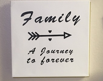 Family A Journey to Forever, Canvas, Word Art, Home Decor, Wall art, Gallery Wall, vinyl