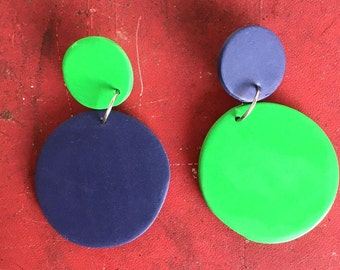 Apple-Blueberry/Green and Navy/Polymer Clay Drop Earrings