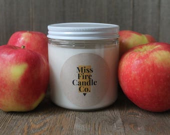 Macintosh Apple Scented Soy Candle in a Glass Jar