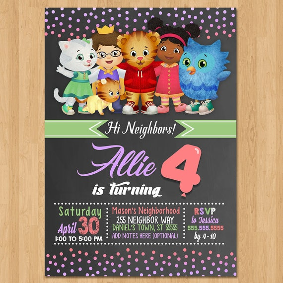 Daniel Tiger Invite - Chalkboard Pink Purple - Daniel Tiger Girl Birthday Party Invite - Daniel Tiger Party Favors - Chalk Invite - Print
