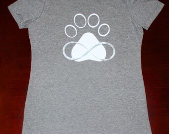 Unique graphic Womens T-Shirt for Dog lovers.