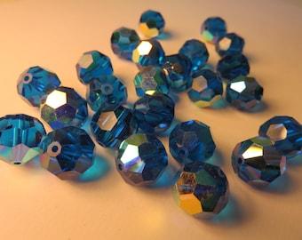12 x art 199 col CAPRI BLUE AB - 11 mm