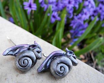 Amethyst Swirled Polymer Clay Dragon Hair Pins
