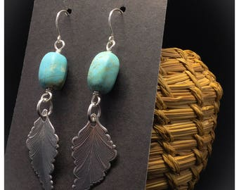 Sweet Harmony- Turquoise Howlite and Silver-plated Leaf Earrings