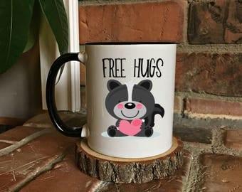 Skunk Free Hugs Coffee Mug - Funny Coffee Mug, Sarcastic gift