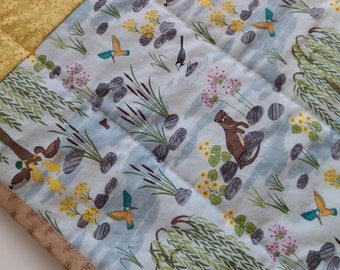 Modern Baby Quilt, Baby Quilt, Otter Pond Quilt, Baby Strip Quilt, Handquilted Baby Quilt
