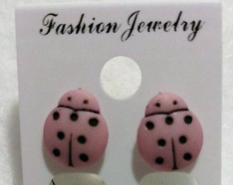 gold stud earrings: ladybug and bee