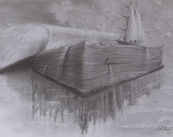 Book-Castle-drawing original - drawing in pencil graphite-fantastic Art.