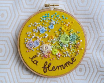 Lazy, embroidered flowers