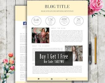 Media Kit Template, Blogger Media Kit Template, Press Kit, Word Template, Instant Download, Professional Blog Template, 2 Page Media Kit
