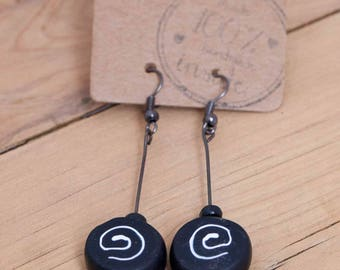Delicate White Spiral Polymer Clay Earrings