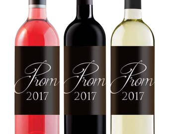 Prom 2017 'Wine' Label - black with faux silver writing - great for non-alcoholic wine!