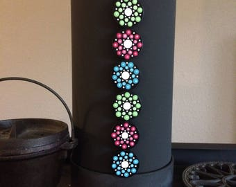 6 - 1.5 inch, hand painted, dot mandala magnets