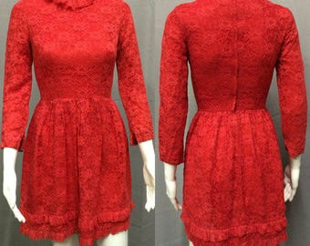 Vintage 1960's Red Lace Dress with Ruffled Collar Neckline