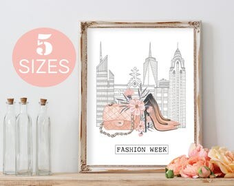 Fashion week, fashion art, floral poster print, girly quote art, shoes print, fashion wall art, bag art print, teens room gift for her