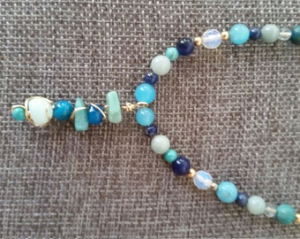 Moonstone and Variety of Blue Gemstones Necklace