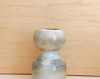 Sculptural White Stoneware Clay Vase with Earthy Glaze