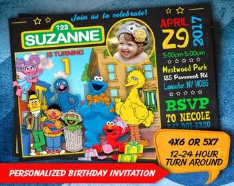 Sesame Street Invitation, Sesame Street Invite, Sesame Street Birthday, Sesame Street Party, Sesame Street Birthday Invitation, Sesame