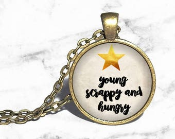 Hamilton Musical, Young Scrappy and Hungry, Hamilton Necklace, Musical Theatre, Broadway Westend, Necklace Keychain Ring Bracelet