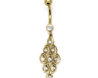 14K Yellow Gold Chandelier Tear Drop Belly Ring with CZ