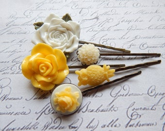 Flower Bobby Pin Set - Yellow, White and Cream Flower and Owl Hair Pins -  Vintage Style Hair Accessories
