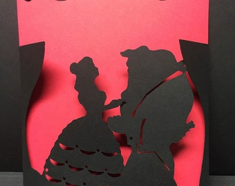 Beauty and  the Beast wedding/invitation/birthday card/ silhouette / cameo/file