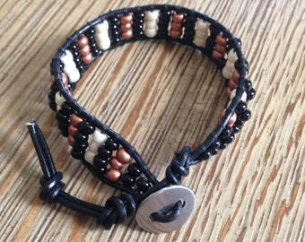 Leather wrap, beaded bracelet, seed bead bracelet, black bracelet, copper bracelet